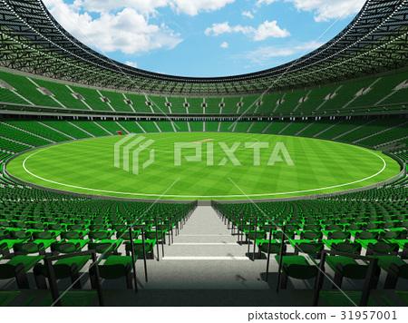 Beautiful modern cricket stadium with green seats 31957001