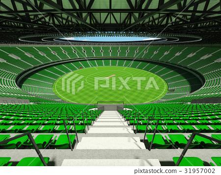 Beautiful modern cricket stadium with green seats 31957002
