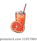 Grapefruit half, slice, glass of juice with ice 31957960