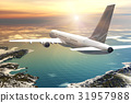Scenic airliner flight in sunset 31957988