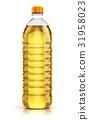 Plastic bottle of vegetable cooking oil 31958023