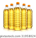 Group plastic bottles with vegetable cooking oil 31958024