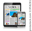 Tablet PC and smartphone with business news 31958281