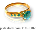 Golden ring with emeralds 31958307