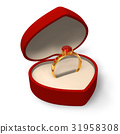 Heart-shape box with golden ring with jewels 31958308