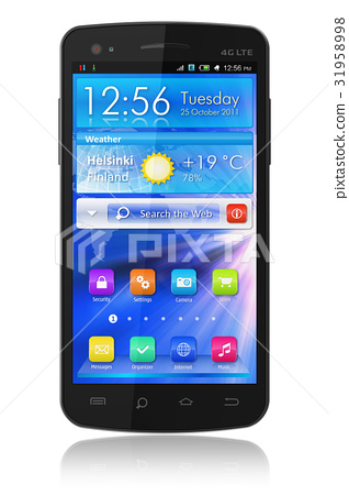 Black glossy touchscreen smartphone 31958998
