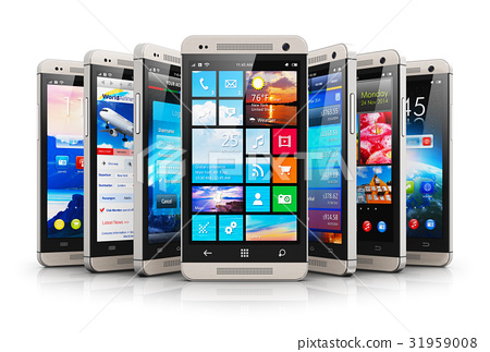 Collection of modern touchscreen smartphones 31959008