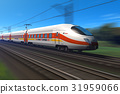 Modern high speed train with motion blur 31959066