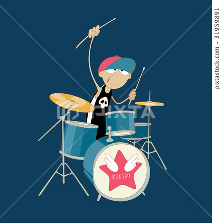 Young drummer of rock band playing his kit 31959891