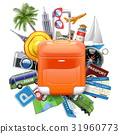 Vector Travel Concept with Rolling Bag 31960773