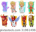 Cartoon little cupid and red demon character set 31961496