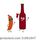 Funny beer bottle and frankfurter sausage 31961647