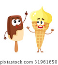 Two funny ice cream characters - vanilla cone and 31961650
