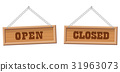 Open Closed Store Sign Wooden Boards 31963073