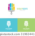 sofa and brush logo combination. Couch and 31963441