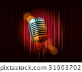 Opening stage curtains with golden microphone 31963702