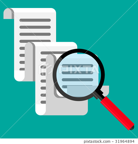 Receipt icon. Paper invoice and magnifying glass 31964894