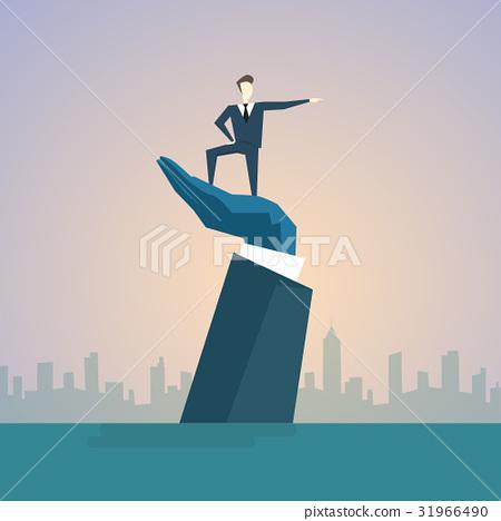 Business Man Standing On Big Businessman Hand 31966490