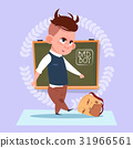 Small Bad School Boy Standing Over Class Board 31966561