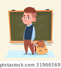 Small School Boy Standing Over Class Board 31966569