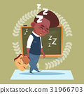 Small School Boy Sleep Tired Standing Over Class 31966703