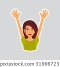 Girl Cheerful Raised Hands Sticker For Messenger 31966723