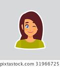 Girl Smiling Wink Sticker For Messenger, Label 31966725