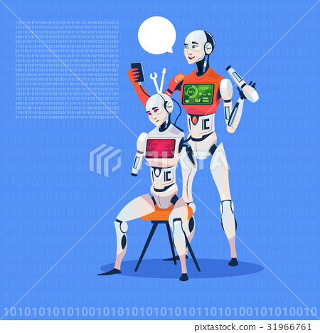 Modern Robot Fixing Electronic Cyborg Futuristic 31966761