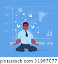 African American Business Man Sit Yoga Lotus Pose 31967077