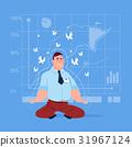 Business Man Sit Yoga Lotus Pose Relaxing 31967124