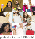 Set of Diverse Women Enjoying Sale Buy Shopping Studio Collage 31968661