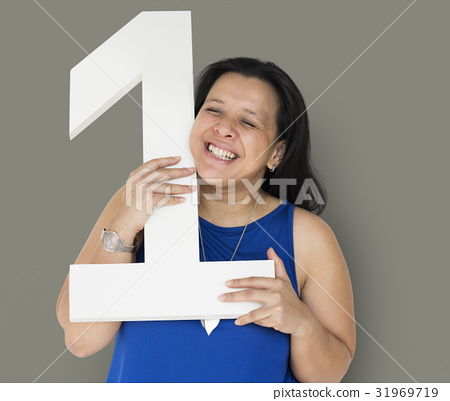 Black Hair Woman Holding One Number Studio Portrait 31969719