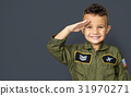 Little boy with pilot dream job salute and smiling 31970271