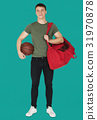 Young adult muscular man holding basketball 31970878