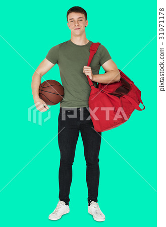 Young adult muscular man holding basketball 31971178