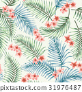Seamless pattern with tropical leaves and flowers. 31976487