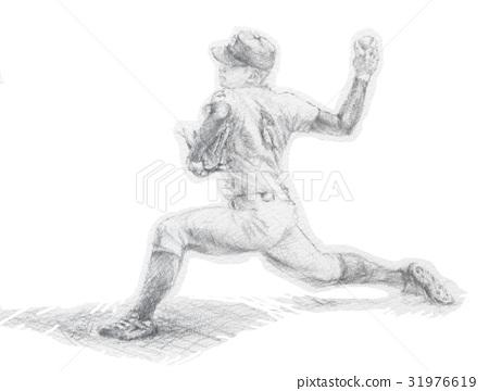 야구 투수 필기 일러스트 31976619
