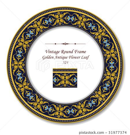 Round Retro Frame of Golden Antique Flower Leaf 31977374