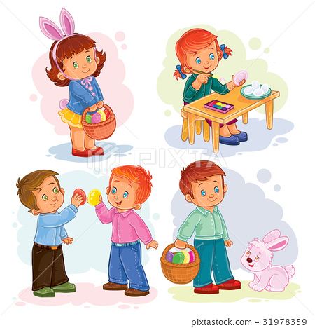 Set clip art illustrations with young children on 31978359