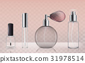 Collection of empty glass cosmetic bottles in 31978514