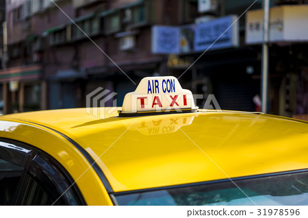 路邊 台灣 台北 黃色 計程車 31978596
