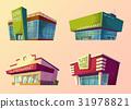 Set of cartoon buildings of modern supermarkets 31978821