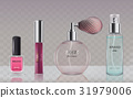 Collection of glass cosmetic bottles in realistic 31979006