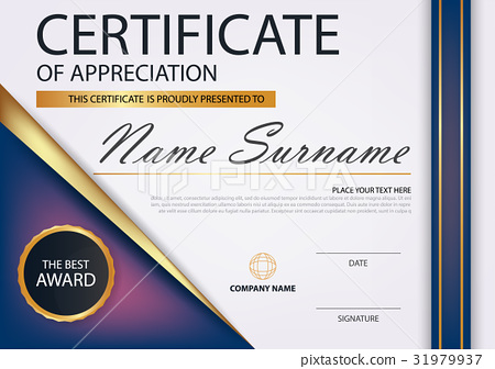 Purple gold Elegance horizontal certificate Vector 31979937