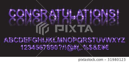 Congratulations. Gold violet alphabetic fonts 31980123