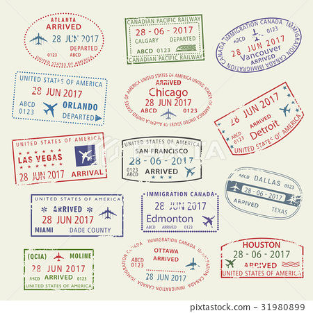 Vector Icons Travel City Passport Stamp Usa Canada Stock Illustration 31980899 Pixta