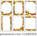 Vector frames set of exotic fresh fruits 31980956
