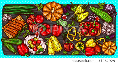 Vector cartoon illustration of various vegetables 31982929