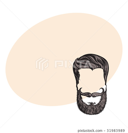 Hand drawn hipster hairstyle, beard and mustache 31983989
