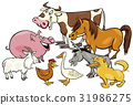 cartoon farm animal characters group 31986275
